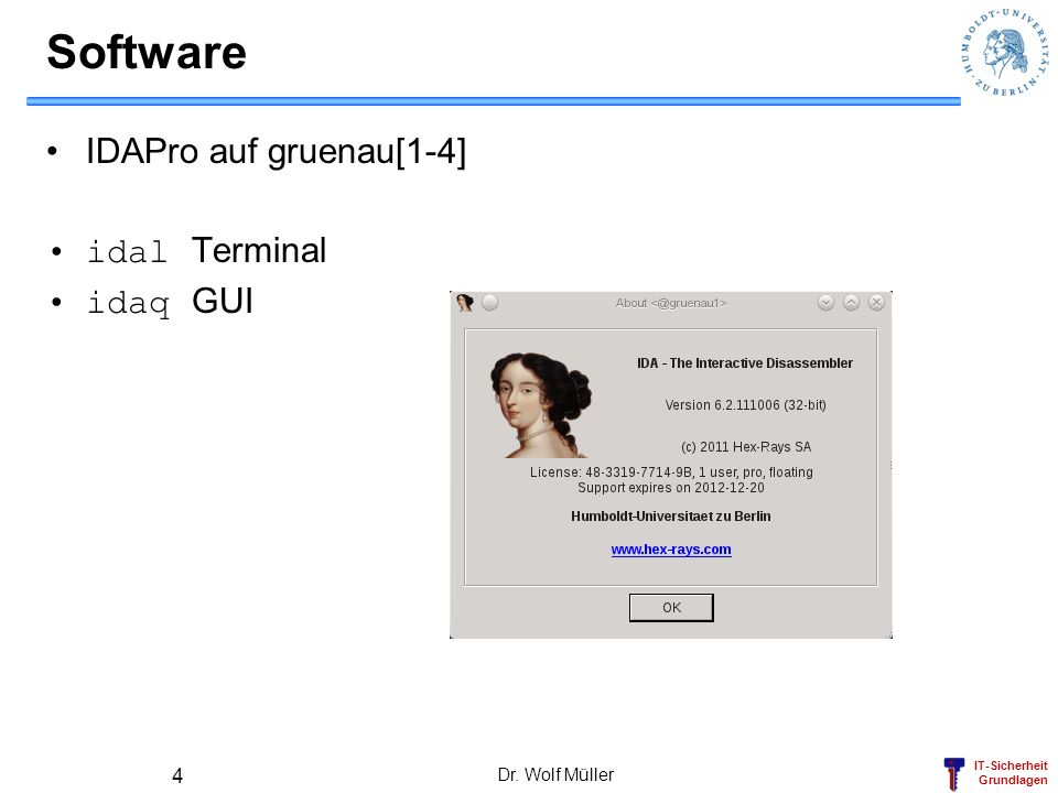 Software IDAPro auf gruenau[1-4] idal Terminal idaq GUI